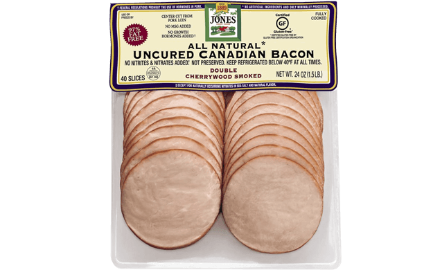 All Natural Cherrywood Smoked Uncured Canadian Bacon 24oz