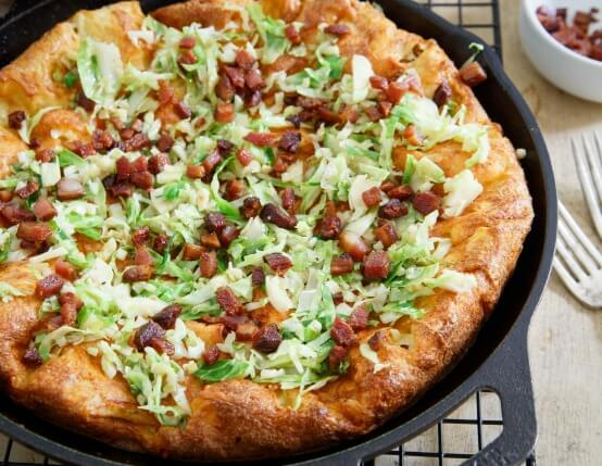 Cheddar Dutch Baby with Bacon and Brussels Sprouts Recipe