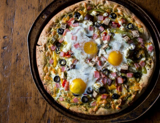 Garden Vegetable Pesto Breakfast Pizza Recipe