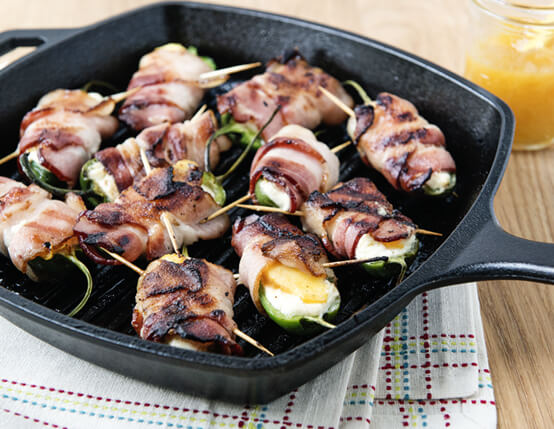 Grilled Bacon-Wrapped Jalapeno Peach Poppers Recipe