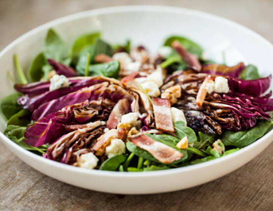 Grilled Radicchio and Spinach Salad with Bacon, Blue Cheese and Walnuts Recipe