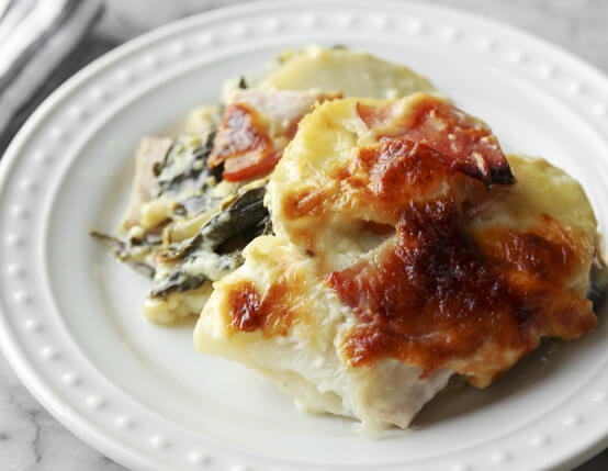 Swiss Chard and Canadian Bacon Potatoes Au Gratin Recipe