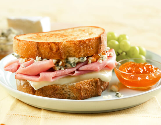 Grilled Jones Ham, Wisconsin Brie & Blue Cheese Sandwich Recipe