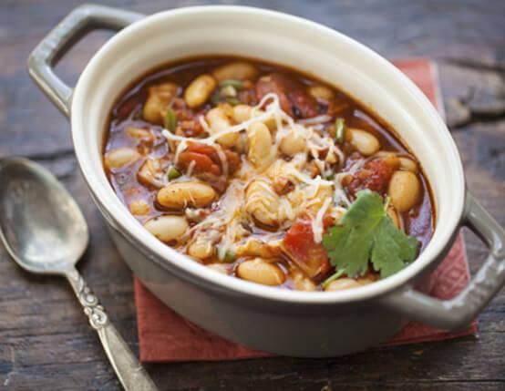 Smoky White Bean Chili with Roasted Tomato & Jones Dairy Farm Ham Recipe