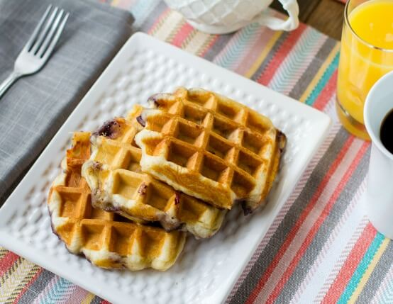 Blueberry and Chicken Sausage Pizza Waffles Recipe