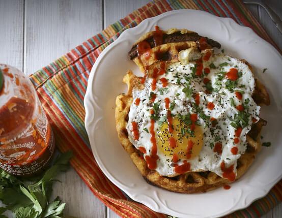Cheddar Sausage Cornmeal Waffles Recipe