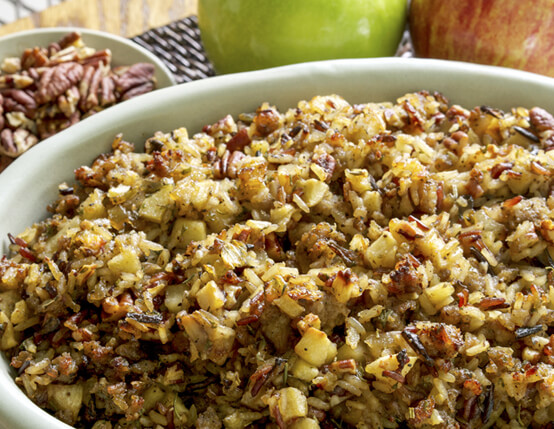 Gluten Free Wild Rice, Jones Sausage and Apple Stuffing Recipe