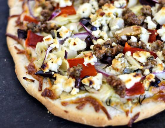 Greek Sausage Pizza Recipe