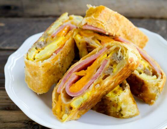 Ham and Sausage Breakfast Stromboli Recipe