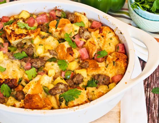 Hawaiian Sweet Bread Stuffing with Jones Sausage and Ham Recipe