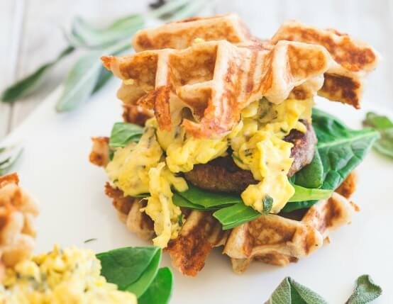 Herbed Cheddar, Sausage and Egg Waffle Sandwiches Recipe
