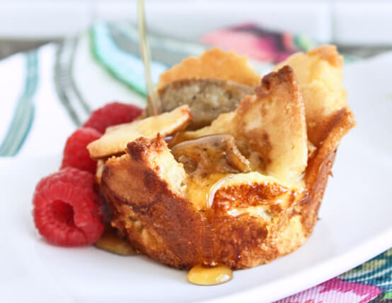 Pancake and Sausage Bread Pudding Muffins Recipe