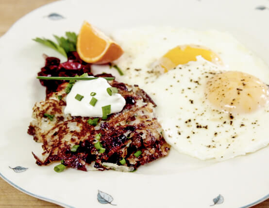 Potato Pancakes with Sausage and Cranberries Recipe