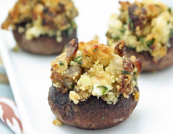 Sausage-Cornbread-and-Feta-Stuffed-Mushrooms