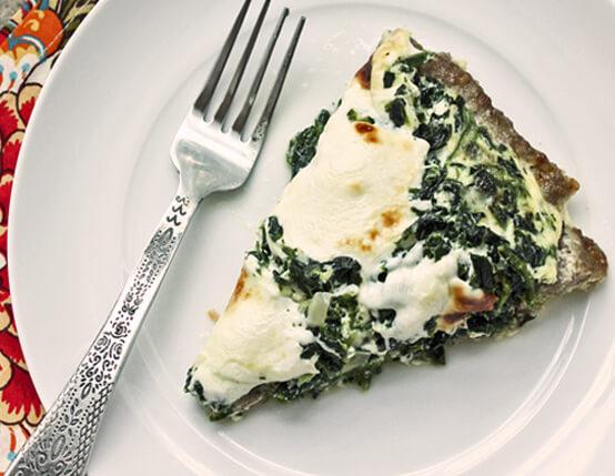 Sausage-Crusted Quiche with Spinach & Mozzarella Recipe