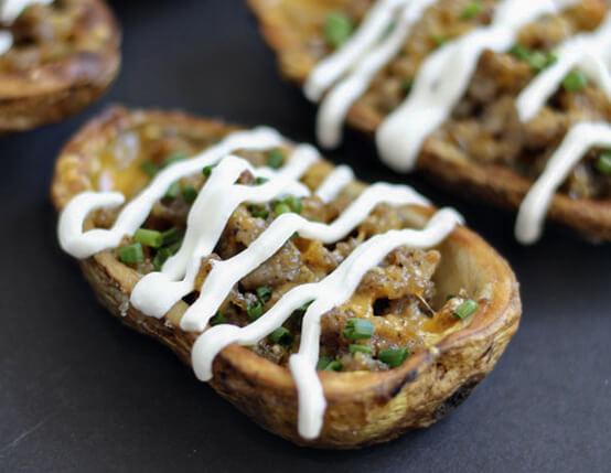 Sausage-Stuffed Potato Skins Recipe