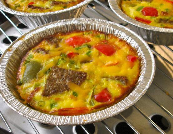 Turkey Sausage Egg Bake in Foil Bowls web