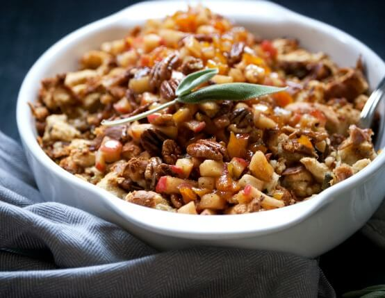 Recipe for Challah Stuffing with Jones Sausage and Apple Compote