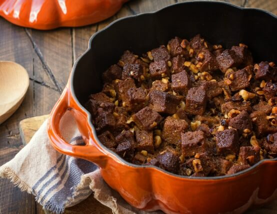 Recipe for Pecan Pumpkin Bread Stuffing with Candied Jones Bacon