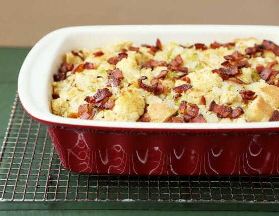 Recipe for Roasted Cauliflower and Focaccia Stuffing with Jones Bacon