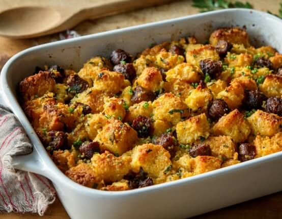 Recipe for Smoky Jalapeño and Cornbread Stuffing with Jones Sausage