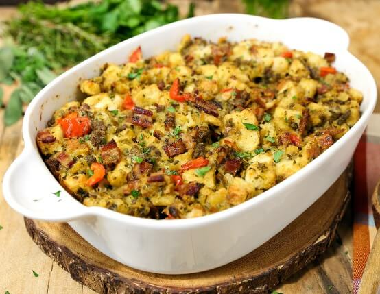 Recipe for Traditional Herb Stuffing with Jones Bacon and Sausage