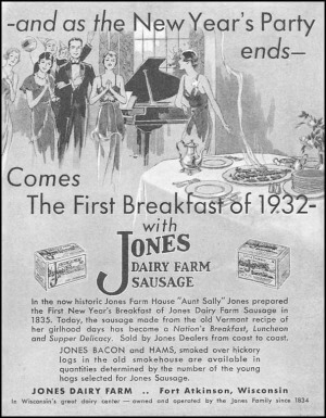 First Jones breakfast sausage advertisement