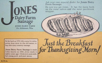 Thanksgiving Advertisement Jones Dairy Farm