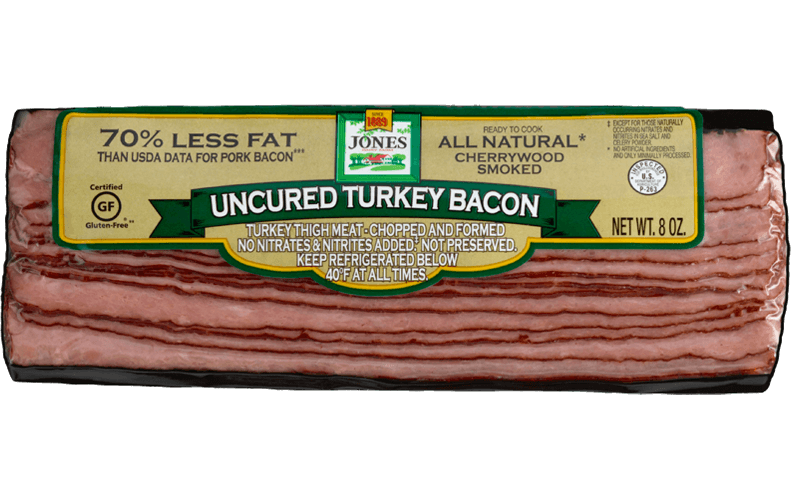 Turkey Bacon Sliced Cherry Hardwood Smoked Uncured 8oz