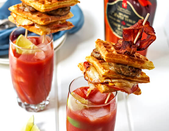 Bacon Bloody Mary with a Waffle Grilled Cheese