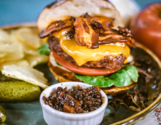 Bacon Cheeseburger with Bourbon Bacon Jam