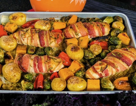Sheet Pan Bacon Wrapped Chicken Breasts