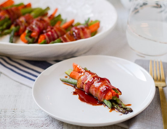 Bacon-Wrapped Veggie Bundles with Soy Honey Glaze