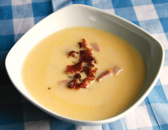 Beer and Cheddar Soup with Smoked Ham