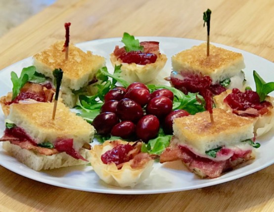 Bite-sized Bacon & Brie Grilled Cheese with Cranberries
