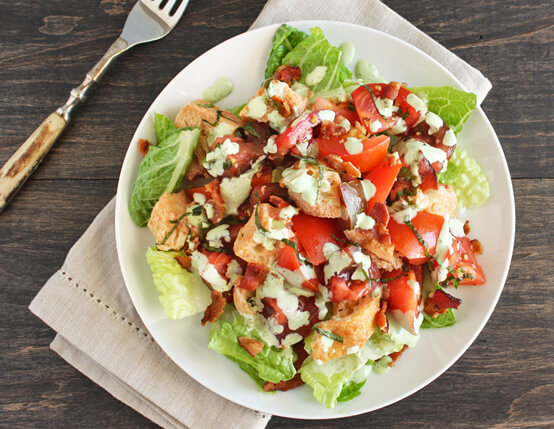 BLT Panzanella Salad with Basil Dressing Recipe