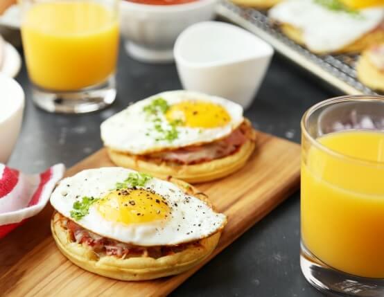 Canadian Bacon Breakfast Pizza Waffles Recipe