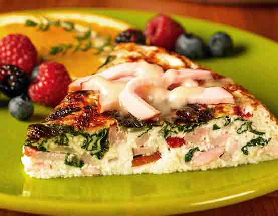 Canadian Bacon, Spinach & Cheese Frittata (low fat, low carb) Recipe