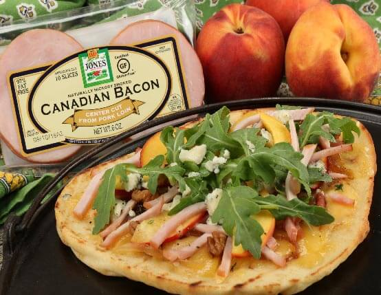 Canadian Bacon, Peach & Gorgonzola Flatbread