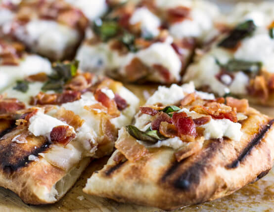 Grilled White Pizza Recipe with Bacon and Basil Recipe