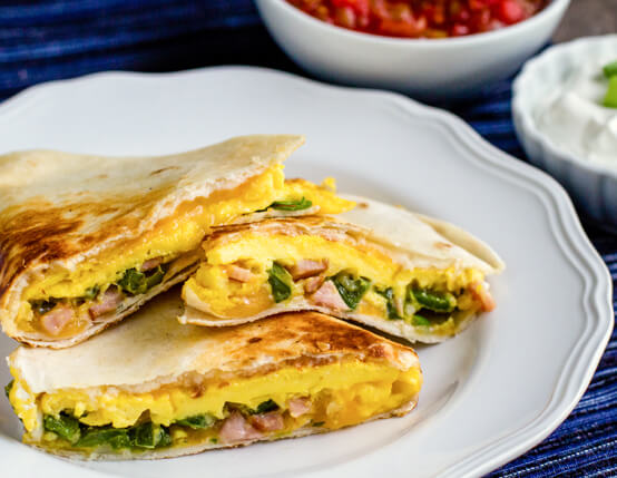 Jalapeño and Canadian Bacon Breakfast Quesadillas Recipe