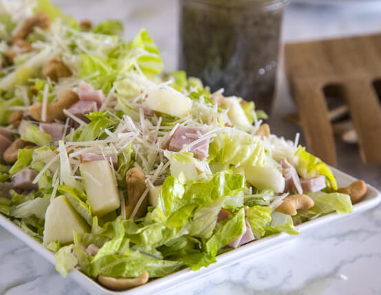 Pear, Cashew & Canadian Bacon Salad with Poppy Seed Dressing Recipe