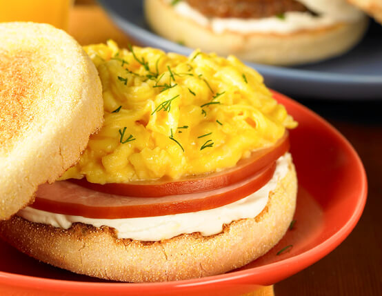 Quick Canadian Bacon Muffin Sandwiches (Low Fat) Recipe