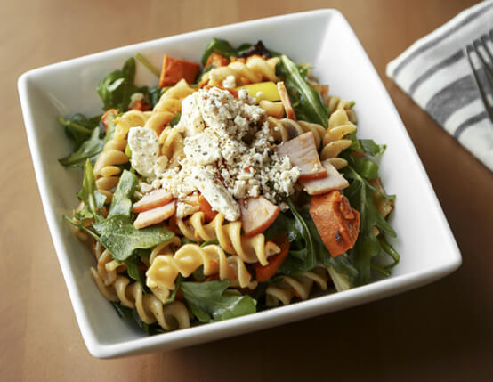 Roasted Sweet Potato and Canadian Bacon Pasta Salad
