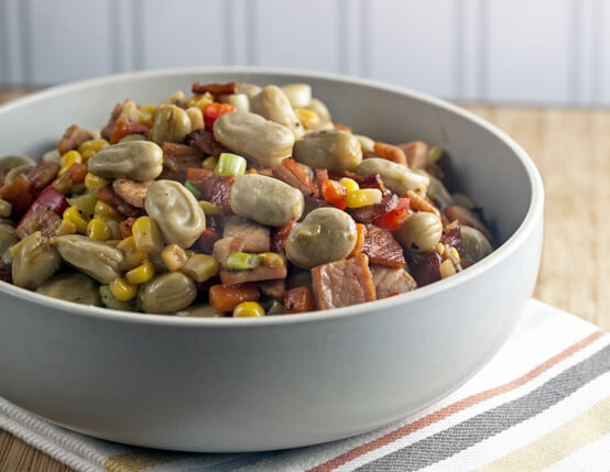 Springtime Succotash with Canadian Bacon Recipe