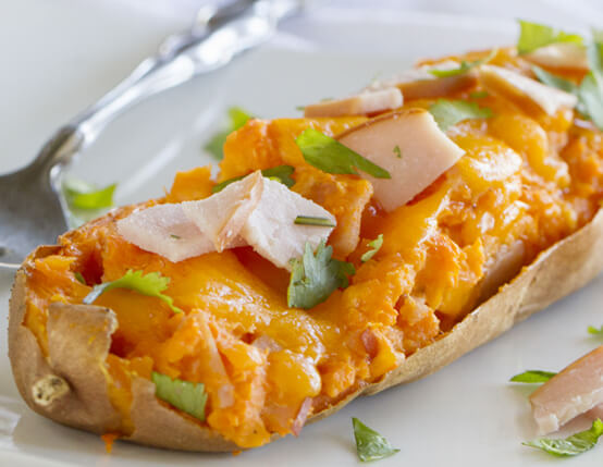 Twice Baked Sweet Potatoes with Cheddar and Canadian Bacon Recipe