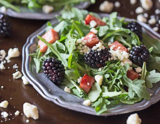 Black and Blue Salad with Crispy Ham Recipe