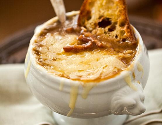 Caramelized Onion Soup with Gruyère and Garlic Crostini