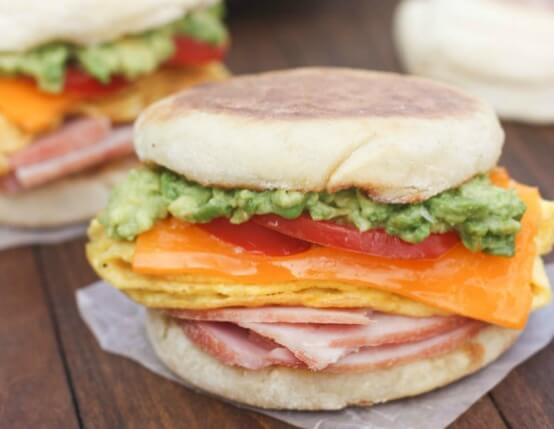 Cheesy Egg, Avocado & Ham Breakfast Sandwiches