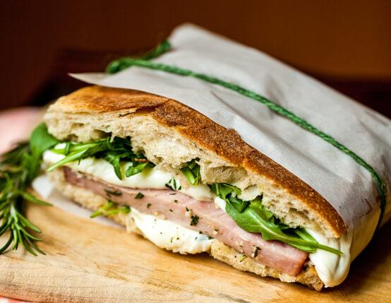 Grilled Ham Sandwich With Mozzarella And Arugula